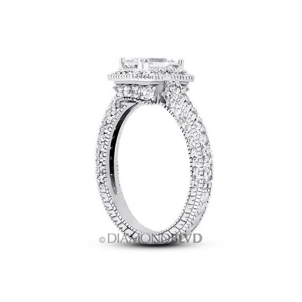 Diamond BLVD 1.78 Carat Total D-VS2 Excellent AGI Cert Emerald Natural Diamond 14K White Gold Halo Engagement Ring at Sears.com