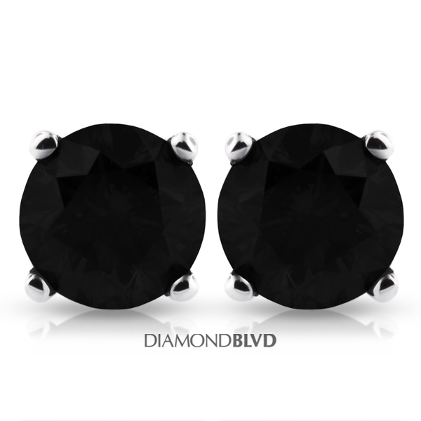 Diamond BLVD 4.04 Carat Total Black Excellent AGI Certificate Round Natural Diamond 14K White Gold 4-Prong Basket Studs at Sears.com