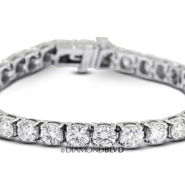 Diamond BLVD 8 Carat Total F-SI2 Very Good AGI Cert Round Natural Diamonds 18K White Gold Basket Diamond Bracelet at Sears.com