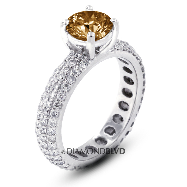 Diamond BLVD 4.16 Carat Total Brown-SI2 Ideal AGI Cert Round Natural Diamond 14K White Gold Three-Row Pave Engagement Ring at Sears.com