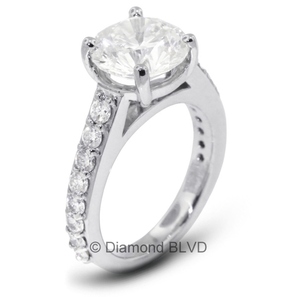 Diamond BLVD 2.33 Carat Total F-SI1 Very Good AGI Cert Round Natural Diamond 14K White Gold Accents Engagement Ring at Sears.com